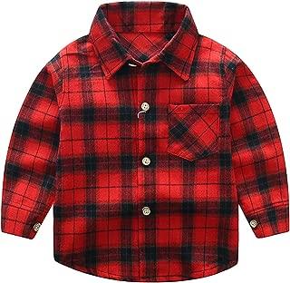 Avidqueen Kids Little Boys Girls Baby Long Sleeve Button Down Red Plaid Flannel Shirt Plaid Girl Boy 1-5T