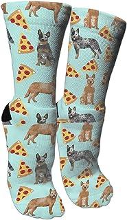 靴下 抗菌防臭 ソックス オーストラリア牛犬青と赤のかかととピザスポーツスポーツソックス、旅行&フライトソックス、塗装アートファニーソックス30センチメートル長い靴下