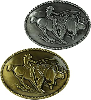 D DOLITY 2 Pieces Classic Rider Horse Vintage Men's Belt Buckles Hot New Accessories