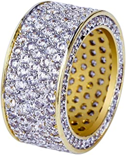 17d80336067da9 JINAO 18K Gold 11mm Eternity Wedding Engagement Band MICROPAVE CZ Iced Out  Mens Ring¡
