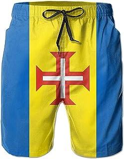 Bandera de Madeira Hombres Verano Surf Bañadores de Secado rápido Pantalones Cortos de Playa Pantalones de Playa con Bolsillo