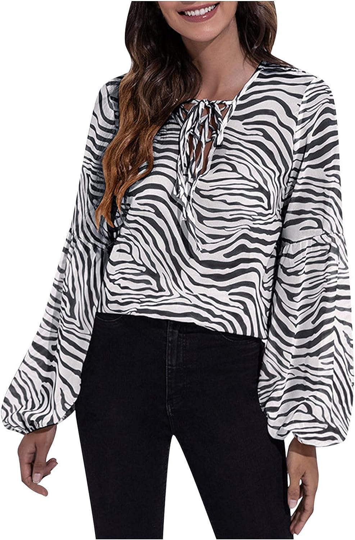 Casual Chiffon Tops for Women Long Sleeve Shirts Loose Fit Sweatshirts Fashion Striped Tunic Tops