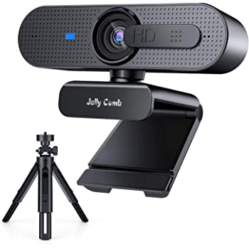Jelly Comb Webcam PC1080P Full HD Audio Stéréo avec trépied Caméra Web Mise au Point Automatique, systemes Windows, Mac, Windows pour PC, Ordinateur, Zoom, Twitch, XSplit, Skype, conférence