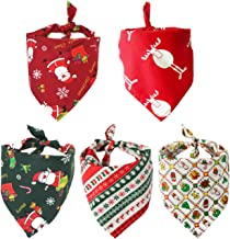 MIUOLV 5 Pack Dog Christmas Bandana 2019 Newest Reversible Triangle Merry Christmas Winter Snowflake Bibs Accessories Handkerchief for Dogs Cats Pets (Red)