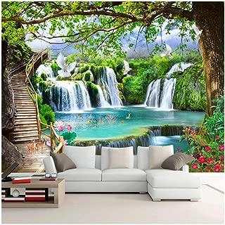 xbwy Custom Any Size Mural Wallpaper Modern 3D Green Tree Waterfalls Landscape Murals Living Room Bedroom-280X200Cm