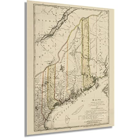 HISTORIX Vintage 1798 Maine State Map - 18x24 Inch Vintage Map of Maine Wall Art Decor - Map of Maine Poster - Maine Map Showing Counties Civil Subdivisions - Legend in German and English (2 sizes)