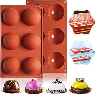 Kesariyaji Silicon 6-Cavity Large Hemi Sphere Dome Chocolate Mould Silicone Round Mold Half Sphere Silicone Tray for Choco...