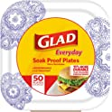 50 Count Glad Square Disposable Paper Plates for All Occasions
