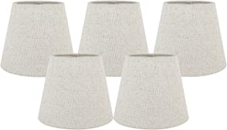 Meriville Set of 5 Natural Linen Clip On Chandelier Lamp Shades, 4-inch by 6-inch by 5-inch (Natural, Set of 5)
