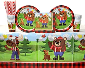 مجموعة مستلزمات حفلات عيد الميلاد الأولى من Buffalo Plaid، لجام الدب لامبرجاك من أجل 16 ضيفًا: مصاصات وألواح العشاء ومناديل غداء وأكواب وغطاء طاولة