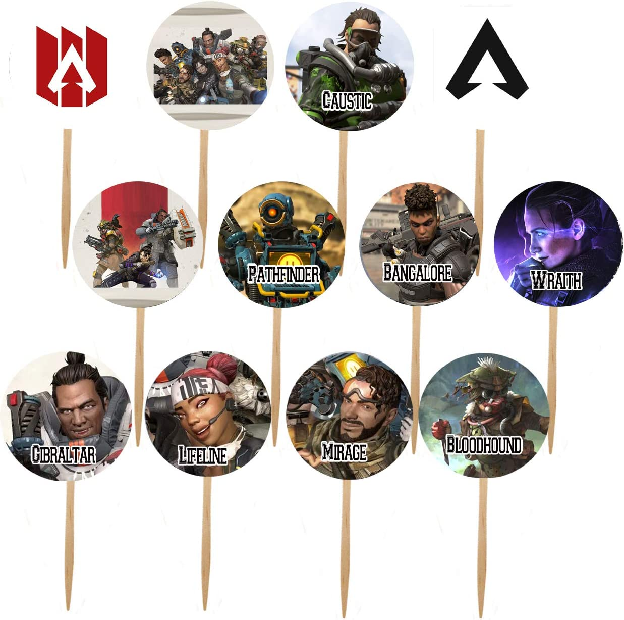 12. Apex Legends Double-Sided Cupcake/Cake Toppers - 12 pcs