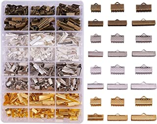 PandaHall Elite 680PCS 6 Size 4 Color Iron Ribbon Ends Bracelet Bookmark Pinch Crimp Clamp End Findings Cord Ends Fasteners Clasp Leather Crimp Ends Jewelry Making Findings