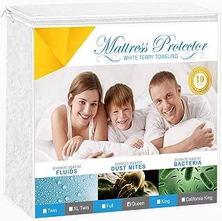 Adoric Full Size Mattress Protector, Premium Waterproof Mattress Cover Cotton Terry Surface-Vinyl Free