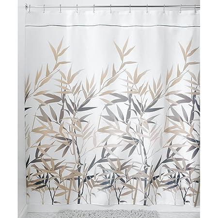 Idesign Anzu Fabric Shower Curtain Stall 54 X 78 Black Tan Home Kitchen