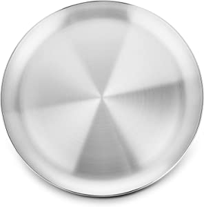 WEZVIX Pizza Pan, 12 Inch Stainless Steel Pizza Tray for Oven Baking, Pizza Crisper Pan Bakeware Round for Home Kitchen, Restaurant, Dishwasher Safe & Heavy Duty