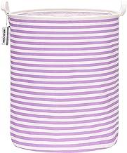 "Sea Team 19.7"" Large Sized Waterproof Coating Ramie Cotton Fabric Folding Laundry Hamper Bucket Cylindric Burlap Canvas St..."