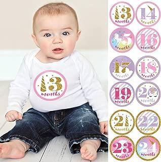 Baby Girl Second Year Monthly Sticker Set - Rainbow Unicorn - Baby Shower Gift Ideas -13-24 Months Stickers