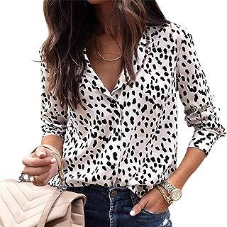 Women Sexy V Neck Blouses Leopard Print Button Down Long Sleeve Shirts