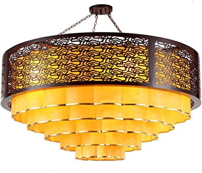 Leihongthebox Ceiling Lights lamp Chinese Xiangyun chandeliers round antique wood headlights vellum for Hall, Study