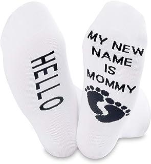 NOBAND, Mommy To Be Regalo Maternidad y Entrega Embarazo Calcetines Embarazada Mamá Regalo Hola Mi Nuevo Nombre es Mamá