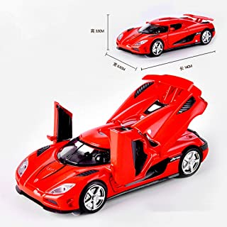 AbbonyDuo 1:32 for FKoenigsegg Supercar Alloy Diecast Car Model Pull Back Toy Electronic Car Classical Kids Toys (Red)