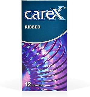 Carex Ribbed Condoms, Natural, Pack of 12