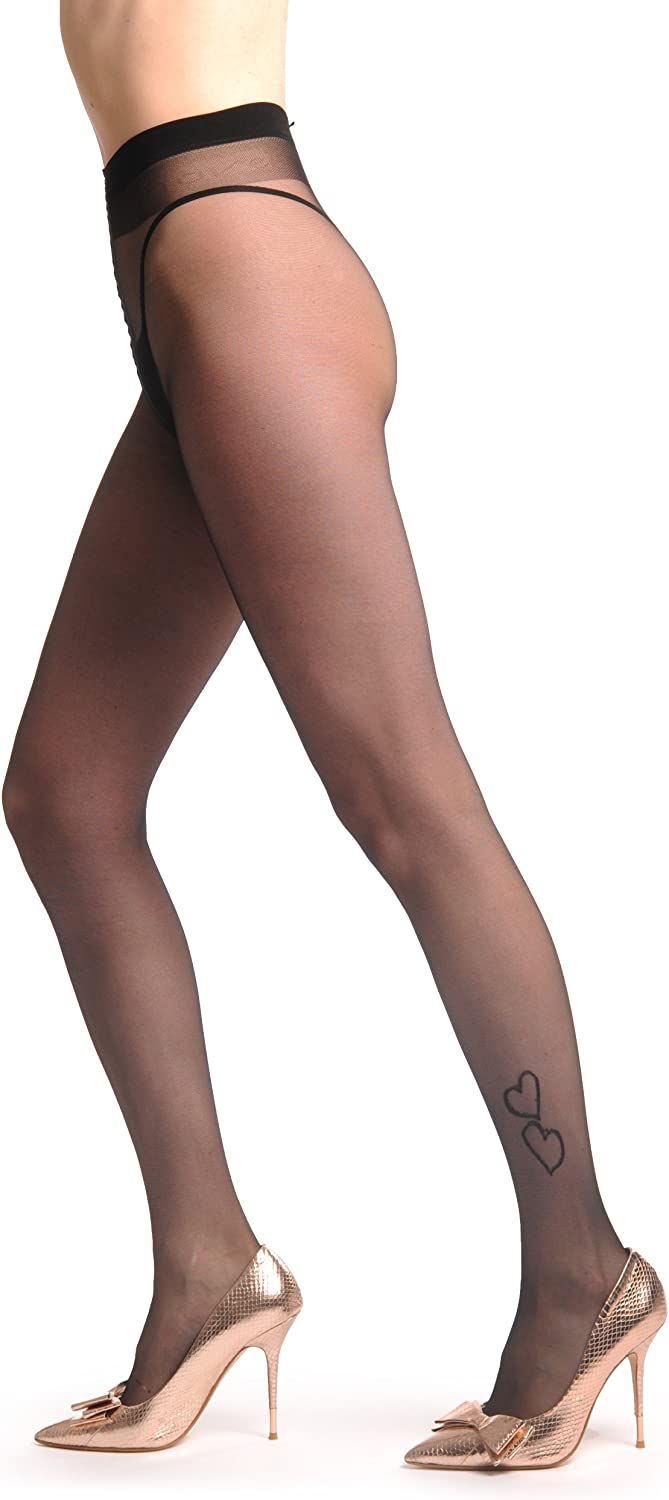 Transparent With Two Hearts Above Ankle 20 Den - Tights