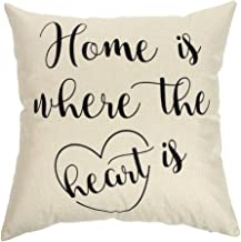 Ogiselestyle Unique Pillow Shams Beautiful Cotton Linen Home is Where The Heart is Pattern Sofa Simple Home Decor Throw Pillow Case Cushion Cover 18