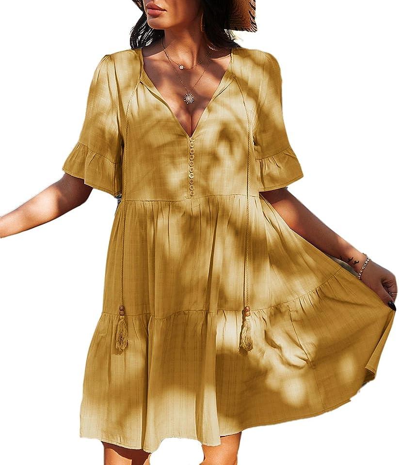 Damen Sommerkleider V-Ausschnitt Kleider Casual Kurzarm Loose Rüschen Freizeitkleider Einfarbig Strandkleider Minikleider Elegant A-Linie T-Shirtkleider