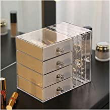 Clear Acrylic Jewelry Box for Women with 4 Drawers Hanging Earring Holder Jewelry Organizer for Earring Bangle Bracelet Ne...