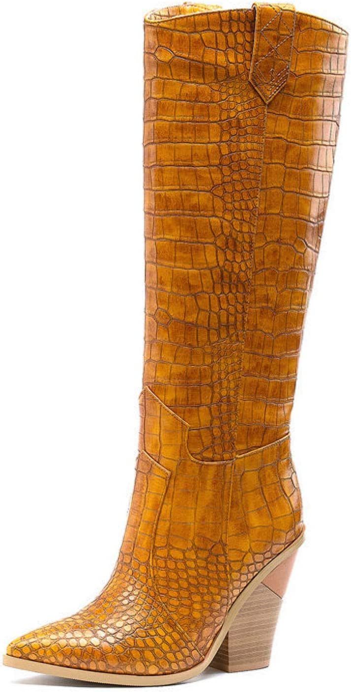 FMTZZY High Heels for Women Cowboy Knee Boot Free Shipping Super Special SALE held Cheap Bargain Gift Western Womens