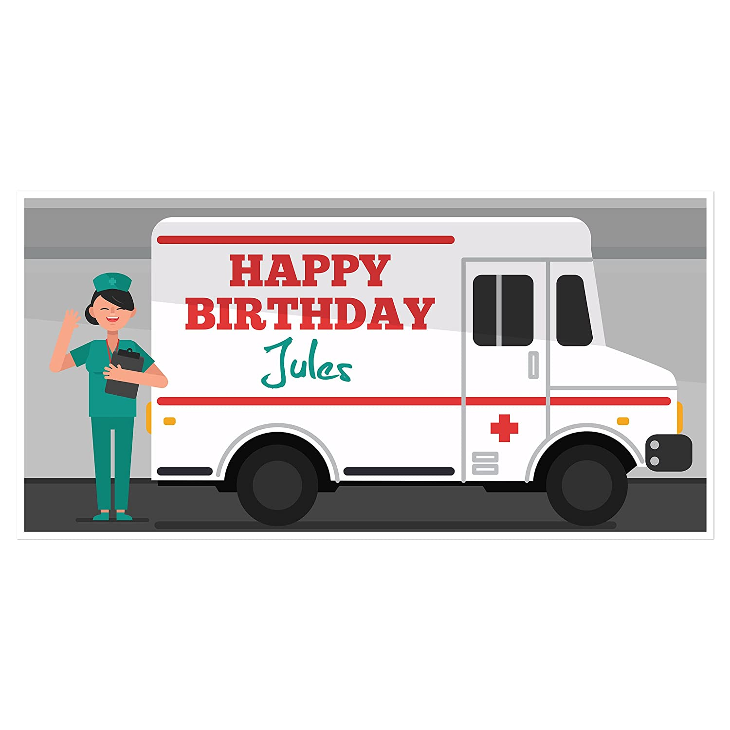 Medical Ambulance EMT Birthday Personalized Banner Party We OFFer Max 48% OFF at cheap prices Backdro