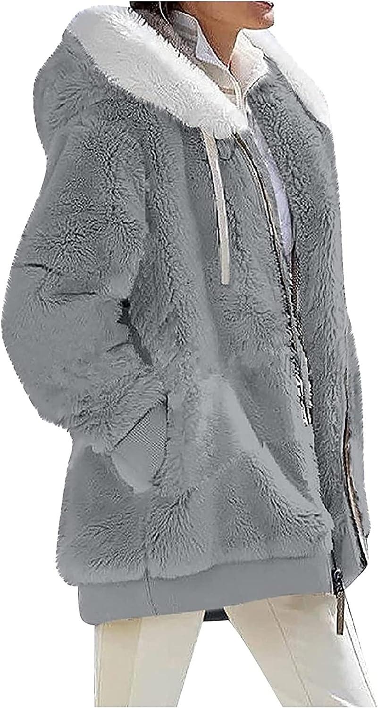 CRMY Ladies Faux Fur Jacket with Hooded Zipper Winter Jacket Plush Jacket Coat