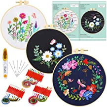 Caydo 3 Sets Full Range of Embroidery Starter Kit with Pattern and Instructions, Cross Stitch Kit Include 3 Embroidery Clothes with Floral Pattern, 3 Plastic Embroidery Hoops, Color Threads and Tools