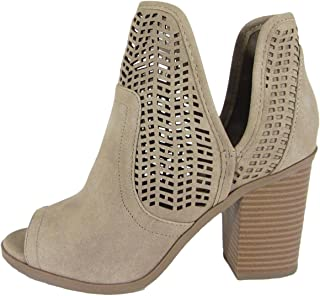 taupe booties open toe