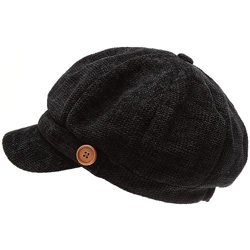 MIRMARU Women s Classic Visor Baker boy Cap Newsboy Cabbie Winter Cozy Hat  with Comfort Elastic Back 017e5ef8d1a