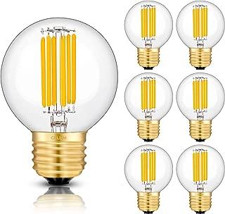 CRLight 6W 700LM Dimmable LED Globe Bulb 2700K Warm White, 60W Equivalent E26 Medium Base LED Filament Light Bulbs, Edison Style Clear Glass G16 Globe Bulb, 360 Degree Beam Angle, 6 Pack