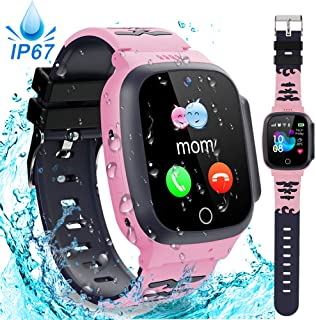 Kids Waterproof Smart Watch Phone GPS Tracker with SOS Two Way Call Micro Chat Touch Screen Camera Alarm Clock Math Game Gizmo Learning Toys for Age 3-12 Girls Boys Christmas Birthday Gifts (Pink)