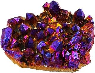 SUNYIK Purple Aura Titanium Quartz Crystal Cluster,Drusy Flame Geode Gemstone Specimen Figurine(0.4-0.5lb)