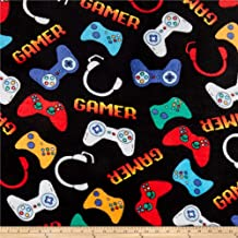 Newcastle Fabrics Whisper Fleece Video Games Black Fabric Fabric by the Yard