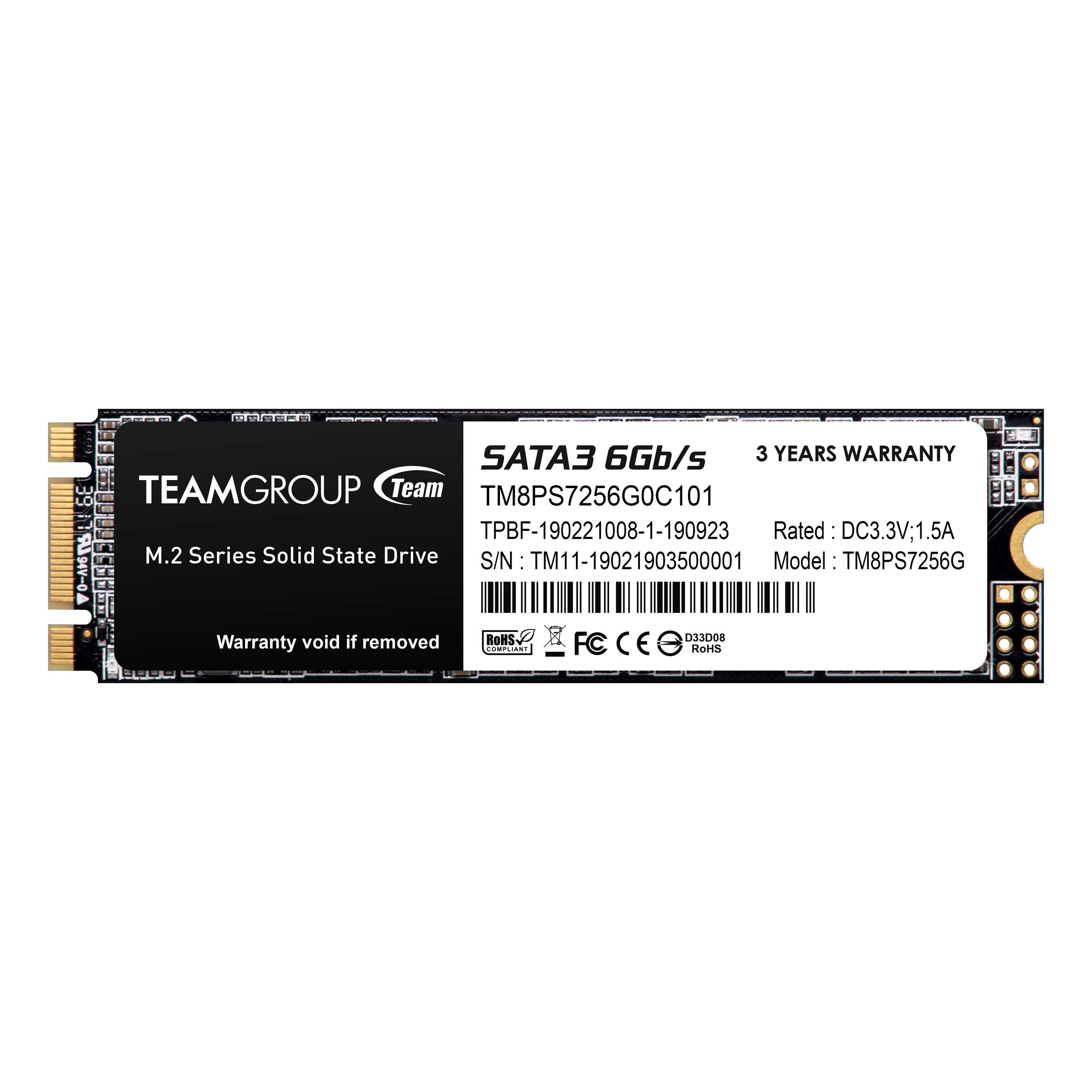 TEAMGROUP MS30 256GB SATA Rev. 3.0 (6Gb/s) M.2 Solid State Drive SSD (Read/Write Speed up to 550/470 MB/s)
