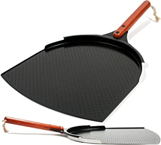 The Ultimate Aluminum Pizza Peel. 14 inch Paddle with a Smooth Ceramic Coating, 10 inch Wood Handle. Large & Lightweight, Use this Metal Spatula for Baking Pizzas and Breads on Oven & Grill