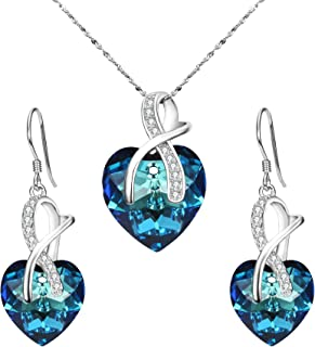 Clearine Women 925 Sterling Silver Bridal CZ Infinity Love Heart of Ocean Adorned with Swarovski® Crystals Pendant Necklace Earrings Set Bermuda Blue