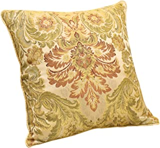 EMME Golden Royal Throw Pillow Covers Luxury Jacquard Weave Decorative Square Cushion Case for Couch Sofa Car Home Decoration 18 x 18 Inches 1 Pack