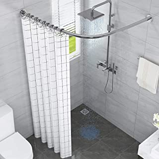 Curved Shower Curtain Rod L-Shaped, Extendable Bathroom Bath Curtain Rail Bar for Bathtubs, Wall Mounted without the Need ...