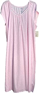 Croft & Barrow White Pink Hearts Medallions Long Extra Soft Cotton Blend Knit Smocked Gown Nightgown Womens Plus~3X~4X