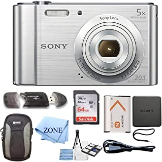 Sony W800/S DSC-W800/S DSCW800S 20 MP Digital Camera 5X Optical Zoom (Silver) Bundle with 64GB SDHC Memory Card, Table top Tripod, Deluxe Case, and Lens Cleaning Cloth