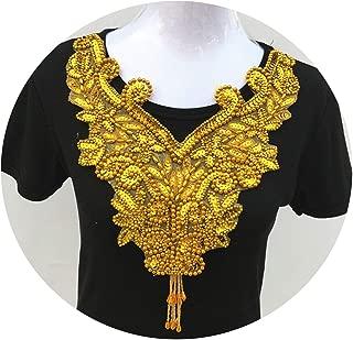 1Pc Gold Color Lace Fabric Dress Applique Motif Blouse Sewing Trims DIY Neckline Collar Costume Decoration Accessories,Gold Sequined 1