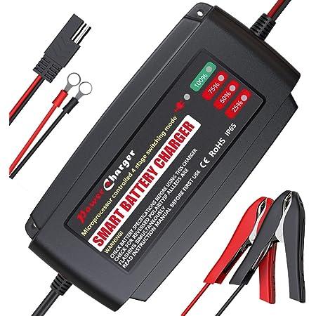 Bmk Autobatterie Ladegerät 12v 5a Tragbar Batterieladegerät Auto Ip65 Vollautomatisches Ladegerät Aktualisierte Version Mit Mehrfachschutz Erhaltungsladegerät Für Auto Motorrad Rasenmäher Auto