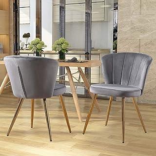 Zoyo Juego de 2 sillas de comedor de terciopelo gris tapizado para cocina, patas doradas para restaurantes en el hogar (gris, 2)